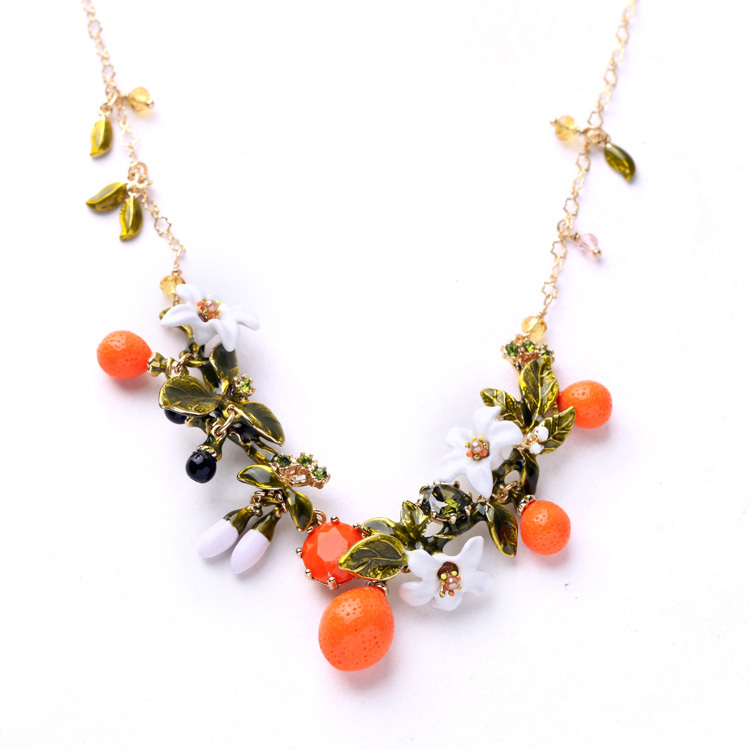 Fresh Designer Jewelry Luxury Exquisite Enamel Leaves Flower Fruit Fashion Statement Chokers Necklace jesurun a18 android 4 2 2 dual core google tv player w 1gb ram 4gb rom hdmi wi fi black