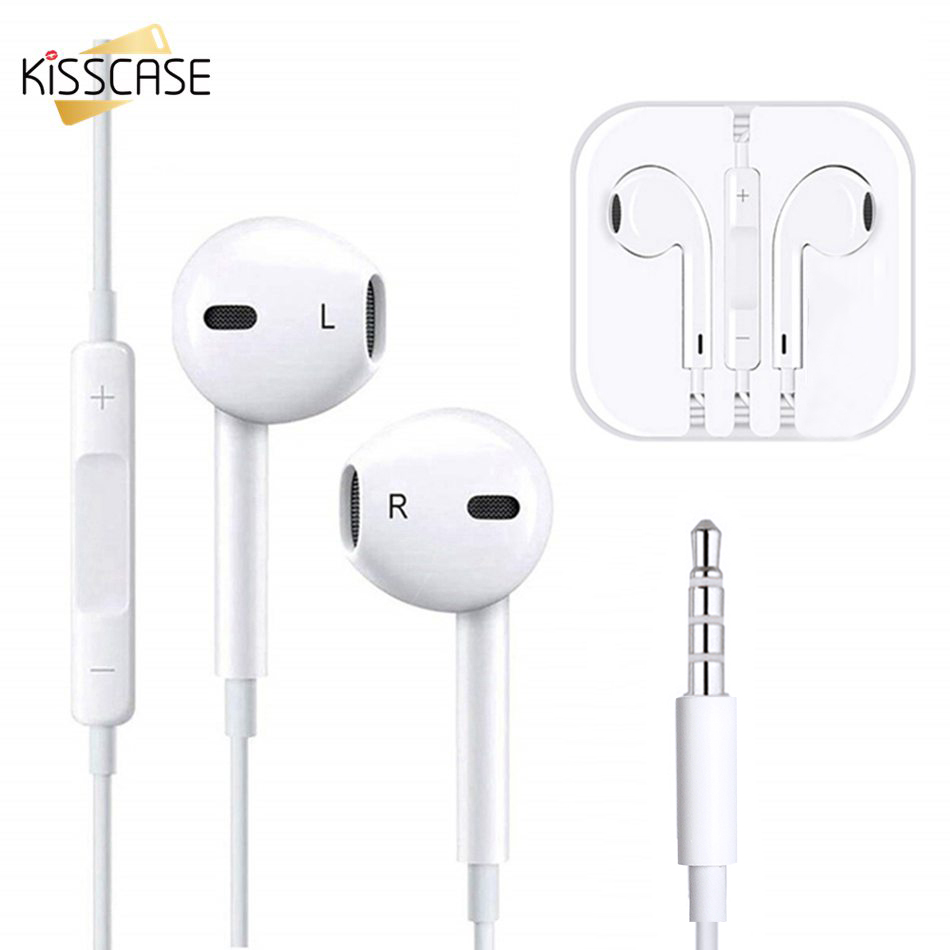 KISSCASE Volume Control Wired Earphone For Huawei P30 Pro Stereo Type C Earbuds For iPhone 6S With Mic Music Headset headphones(China)
