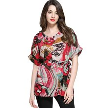TUHAO 2018 Summer Women's Loose Casual Shirts 4XL Plus Size Blouse Women Print Cotton Linen Tops Female Clothing T5801