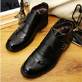 LIN REY Marca Hombres Zapatos de Los Planos de Deslizamiento En Invierno Genuino Sólido Zapatos Calientes de la Felpa de cuero Botines Casual Zapatos de Negocios Para Hombre