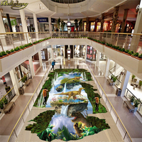 beibehang Fixed wall paper to paste 3D stereo suspension city dinosaur outdoor floor tiles three dimensional painting