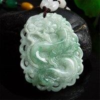 Genuine Burmese Jadeite Hand Carved Dragon Pendant Men or Women's Amulet Necklace Zodiac Dragon Jade Pendant Jewelry Dropship