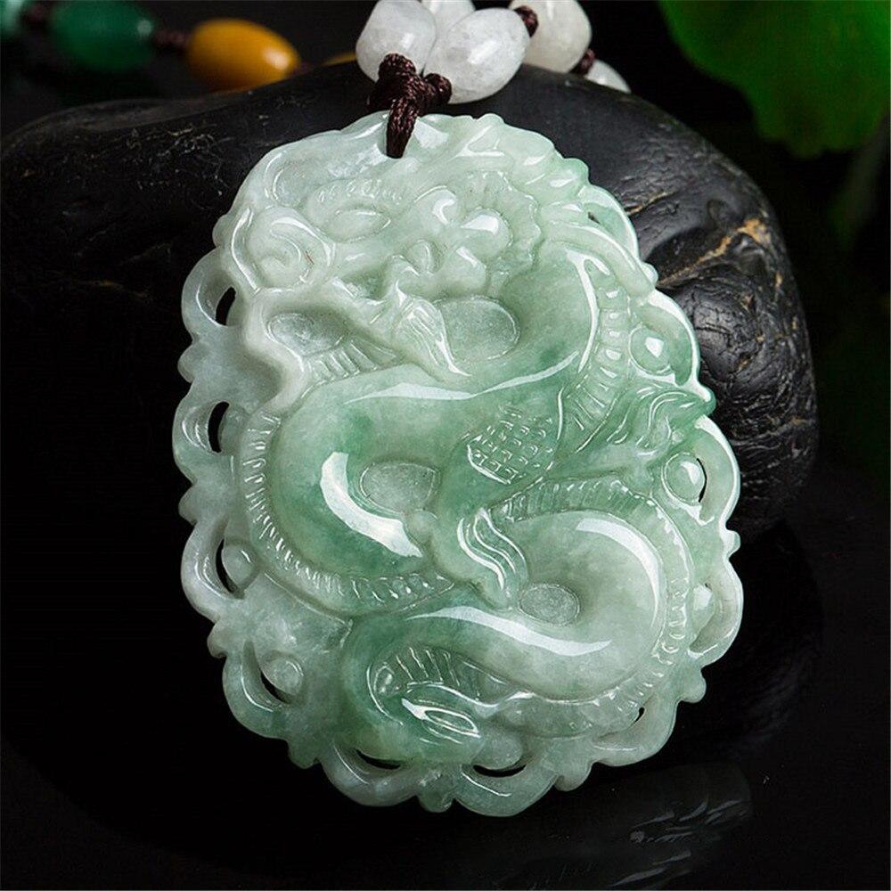 Naturel Hetian Jade vert Jasper pendentif sculpté à la main creux chanceux Double pie Jade pendentif collier pour hommes et femmes livraison directe