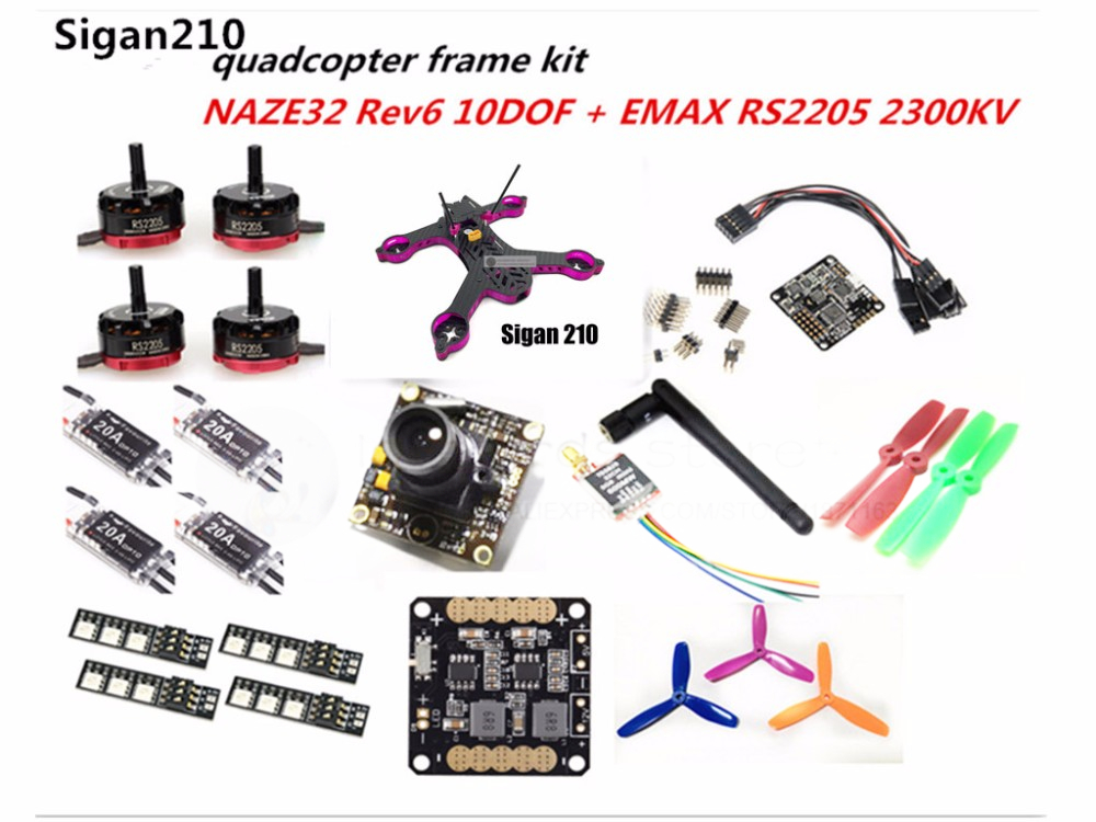 DIY FPV mini drone Sigan210 quadcopter pure carbon frame kit EMAX RS2205 + littlebee 20A ESC 2-4S + NAZE32 Rev6 10DOF + camera diy fpv mini drone qav210 zmr210 race quadcopter full carbon frame kit naze32 emax 2204ii kv2300 motor bl12a esc run with 4s