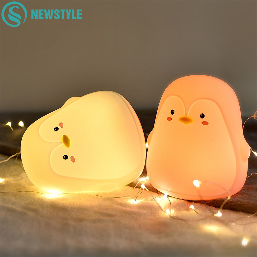 Penguin Silicone Touch Sensor Night Light Rechargeable 7 Colors USB Charging LED Night Lamp For Children Baby Christmas Gift