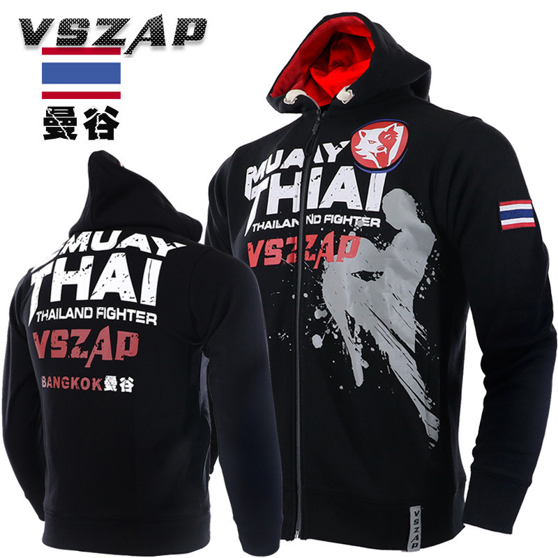 VSZAP MMA Long Sleeve Jacket Hoodies Muay Thai Boxer Keep Warm Breathable Sweatshirts Men Sporting Jackets Hip Hop