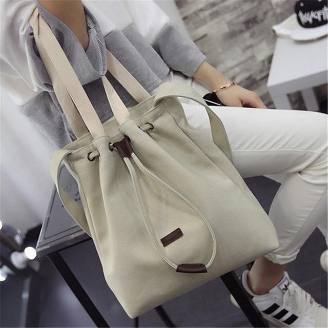 Solid Canvas Straw Bucket Handbag Shoulder Messenger Bag New Women's Girls Tote Purse Bags Casual Interior Zipper Pocket 2018