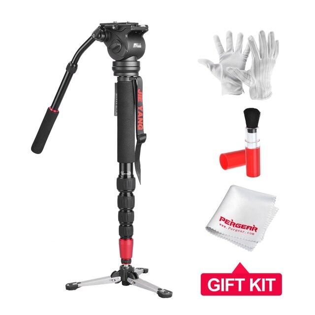 JIEYANG JY0506 Aluminum 4KG Load Monopod w/ Tripod Fluid Head for Canon Nikon Sony DSLR Video & Camera + 3 in 1 Cleaning Kit