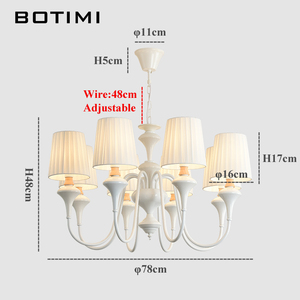 Image 3 - BOTIMI Nordic LED Chandelier With Fabric Lampshade For Living Room Blue Chandeliers Lighting Modern White Hanging Light Bedroom