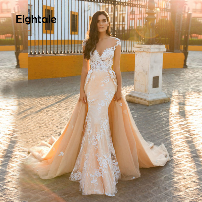 Eightale Boho Wedding Dresses Champagne O-Neck Cap Sleeves Princess Bride Dress Buttons Mermaid Wedding Gown Robe De Mariee