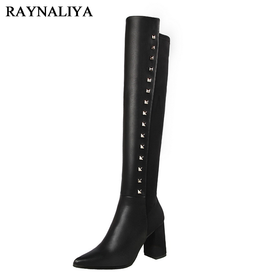 Fashion Woman Boots Pointed Toe Knee High Boots High Botas Feminina Fashion Winter Thigh High Boots Shoes Woman BT-B0078