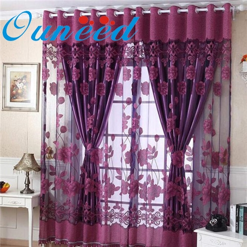 HOT! Ouneed 250cmx100cm Print Floral Voile Door Curtain Window Room Curtain Divider Scarf Gift 1pc Dropshipping june7