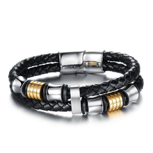 HOT 2016 Classic Leather Bracelet Men Bracelet Gift Simple Bracelets Bangles Magnetic Braclet Mens Bracelets Pulseras Hombre