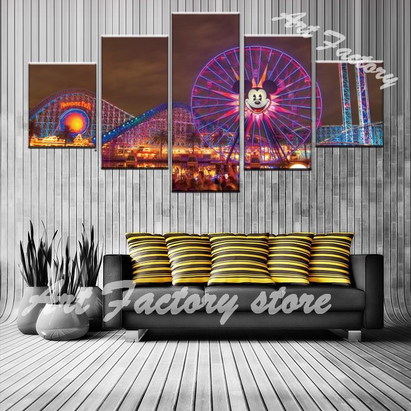 Холст стены Книги по искусству фотографии украшение дома Гостиная 5 шт. Лос-Анджелес Бич Pier живописи, печать колесо обозрения плакат js- 117