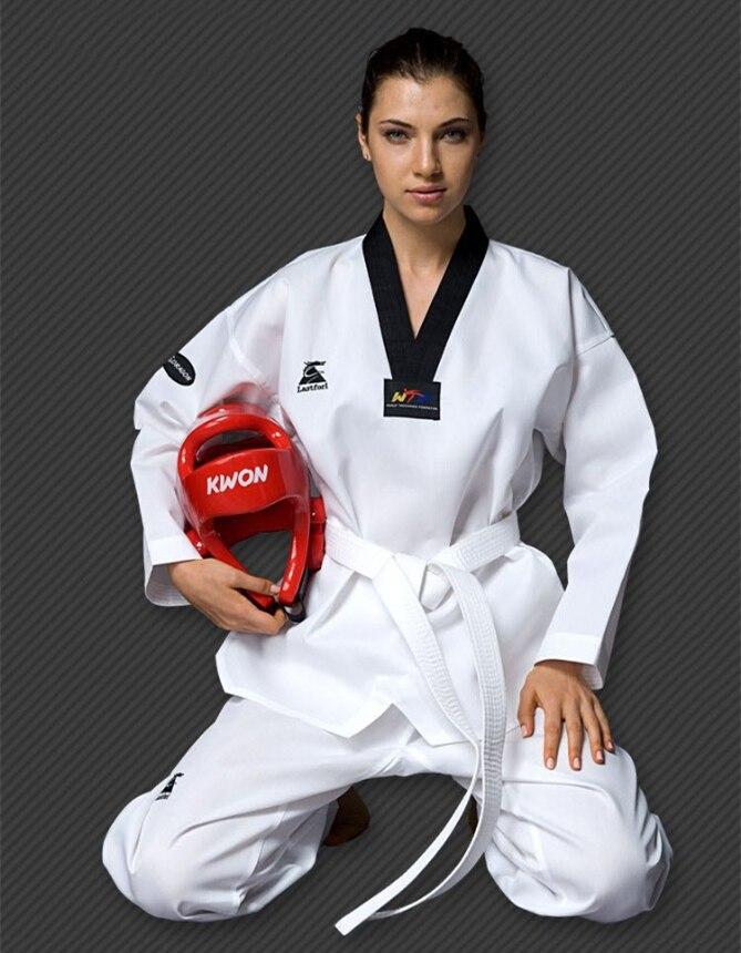 Adult Children Best Quality Cotton Long Sleeved Taekwondo Uniforms Kids Dobok Size 110 Cm To 190cm