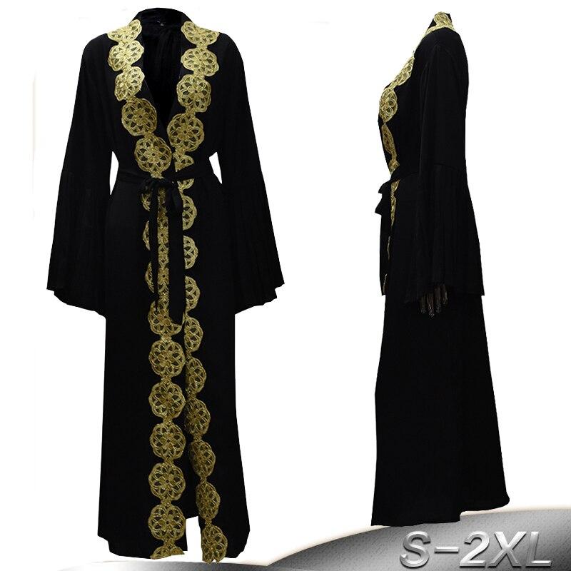 Qatar UAE Abayas For Women Black Abaya Dubai Sequined Floral Hijab Muslim Dress Jilbab Robe Musulmane Turkish Islamic Clothing