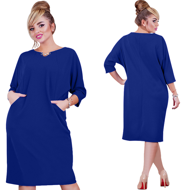 2017 New Arrival Women Dress 6XL Vestidos Solid Color Straight Casual Knee Lenght Three Quarter Sleeve Dress Oversized Plus Size