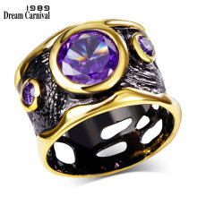 DC1989 Spanish Design Vintage Rings for Women Gold & Black Plated Hip Hop Cubic Zirconia Ring Punk Lead Free See Through Hollow(China)