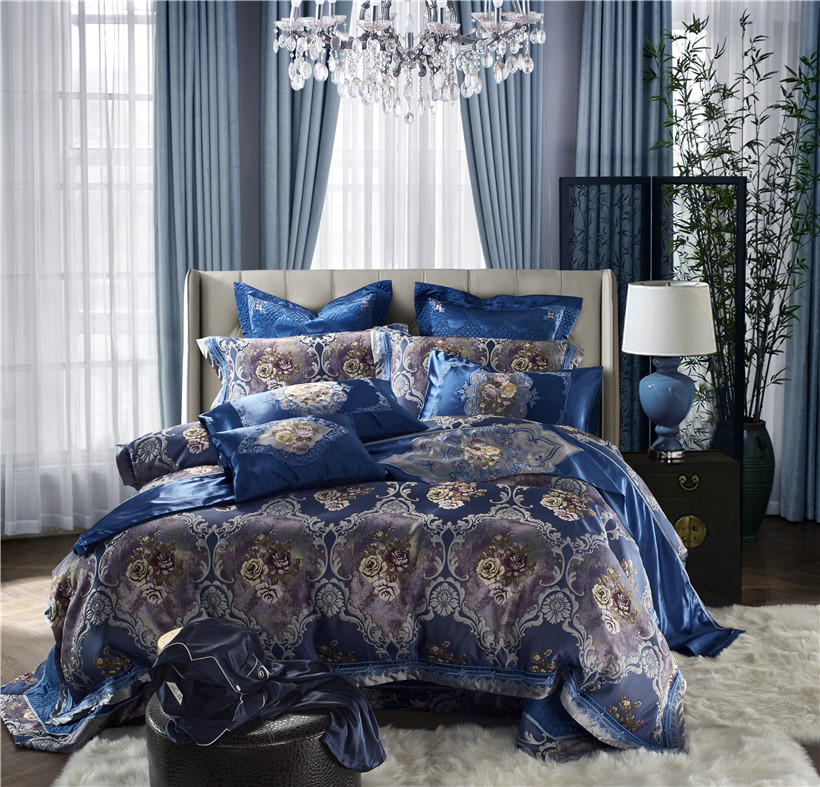 European Style Luxury Royal Bedding Set Blossom Floral Embroidery Blue Duvet Cover Silk Satin Bed Sets Queen King Size Bed Set