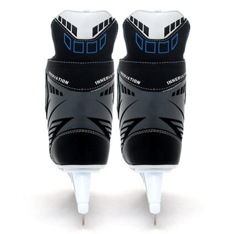Взрослый ребенок хоккейный нож для катания на коньках спортивная обувь для трюков кожаные ледяные лезвия настоящие ледяные коньки Patines Лыжный спорт черный ID18 - 3