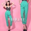 Бесплатная доставка весна новое поступление урожай классический свободного покроя высокая талия широкий длинные брюки с поясом all-матч зеленых штанах женщин