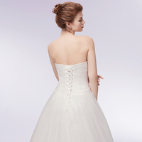 Sexy Backless Feather Bust Ball Gown Wedding Dress 2018 Charming Sweetheart Neck Lace up Bridal Dress Robe de Mariee 4