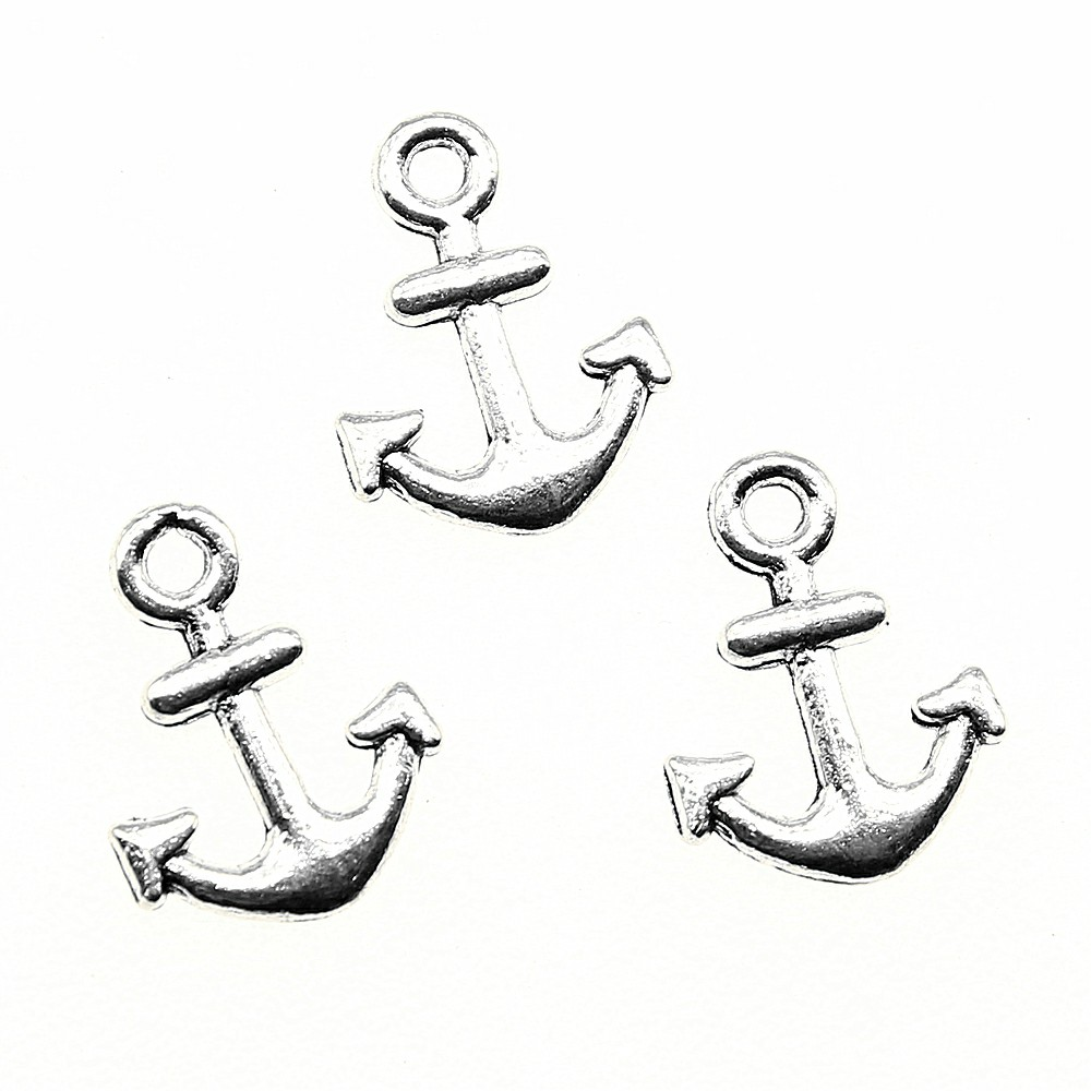 60pcs Small Anchor Charms Tiny Anchor Charms Lot Antique Silver Tone Anchor Charms For Jewelry Making Accessories 10x13mm