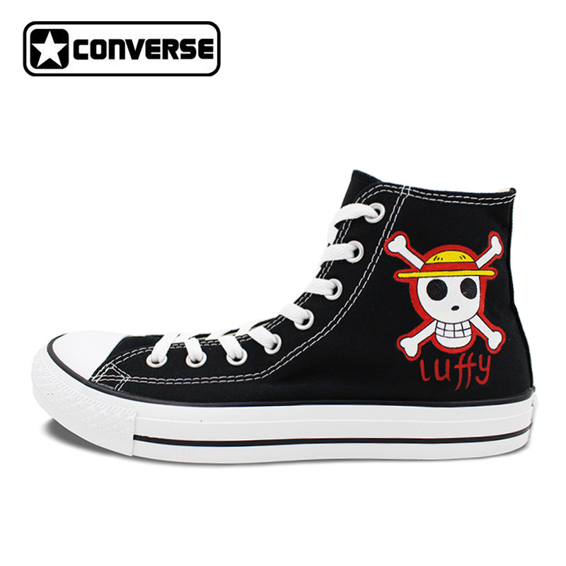 All Star Converse Men Women Shoes Anime One Piece Jolly Roger Design Hand Painted Shoes Black Skateboarding Shoes Gifts ...