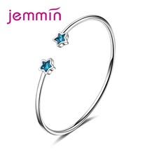 Big Promotion Clear Austrian Crystals Student Style Trendy Blue Stars Opening Bangles 925 Sterling Silver Valentine's Gif(China)