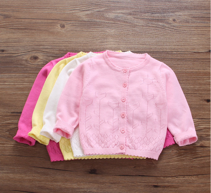 New Clothing For Baby Girl Knitted Sweater Spring Summer Toddler Wear Sweaters Newborn Cardigan Kids Air Conditioning Coats 0-2Y