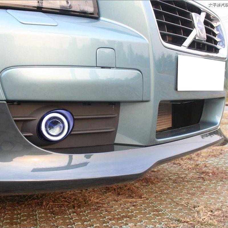 eOsuns cob ангел глаз LED DRL дневного света + противотуманные фары + объектив проектора для Volvo с30