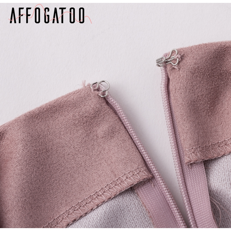 Affogatoo Asymmetrical sash knotted suede skirt women High waist sexy split winter skirt 18 Autumn casual leather skirt female 8