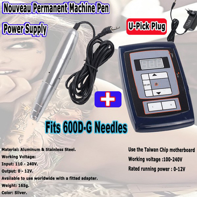 Rotary Swiss Motor Tattoo Kits Permanent Makeup Machine Power Supply & Pen for Eyebrow Eyeliner Lips Fits 600D-G 688D-G Needles top motor aluminum permanent makeup rotary tattoo machine pen for cosmetics eyebrow lips free shipping