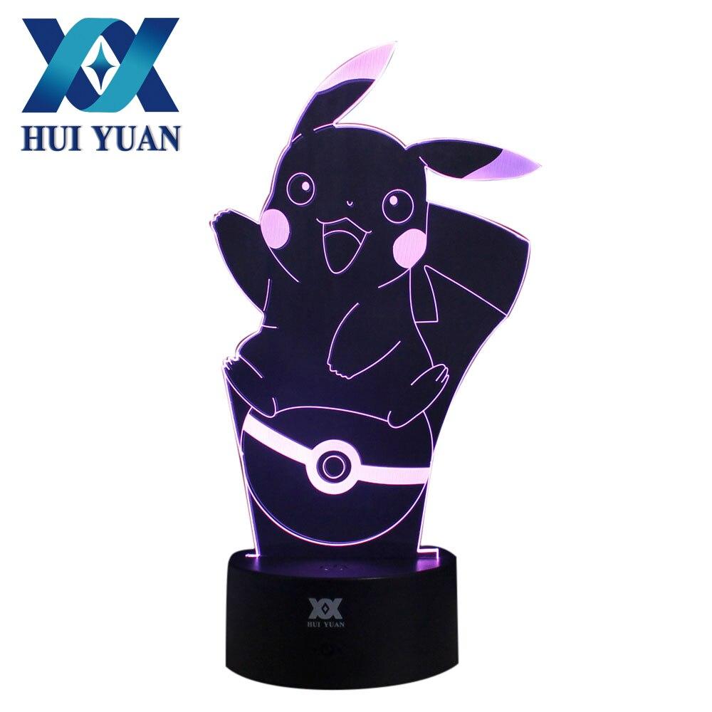 HUI YUAN Pikachu 3D Lamp Remote LED Night Light Touch