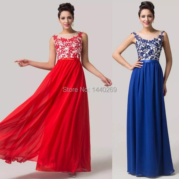 Elegant Appliques Chiffon   Evening     Dresses   Women's Floor Length Prom Gown
