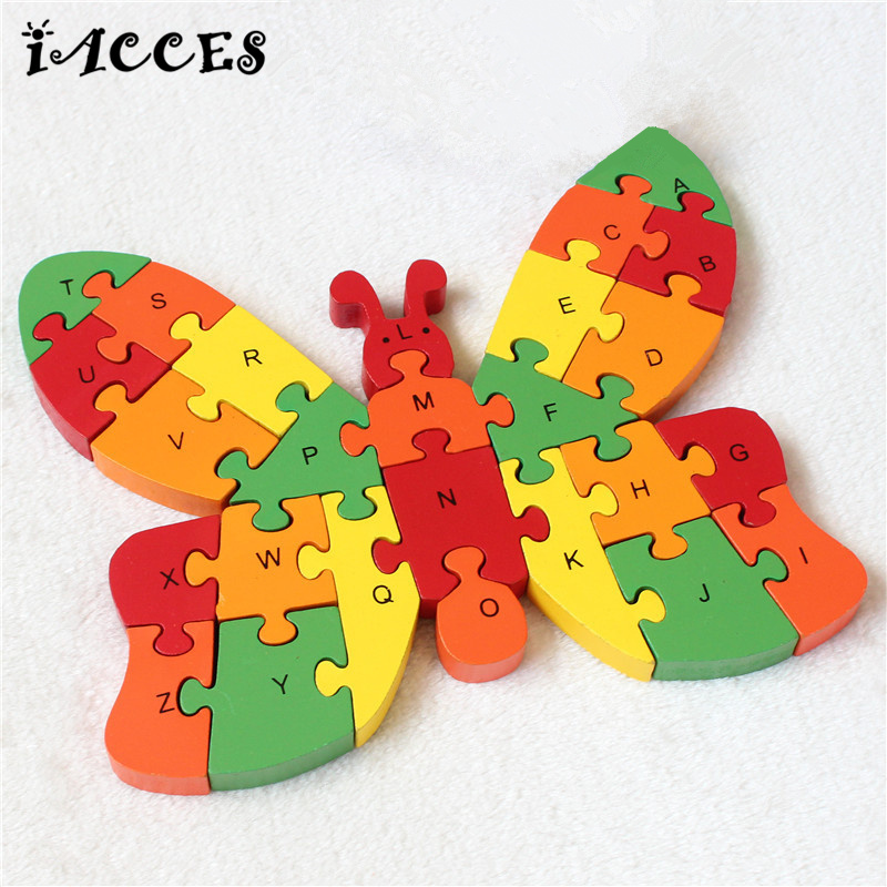 Wooden Tortoise Puzzle toys Baby Early Educational English Letters and Numerals jigsaw Cartoon Brain Game Toys Kids party gifts children s early childhood educational toys the bear change clothes play toys creative wooden jigsaw puzzle girls toys