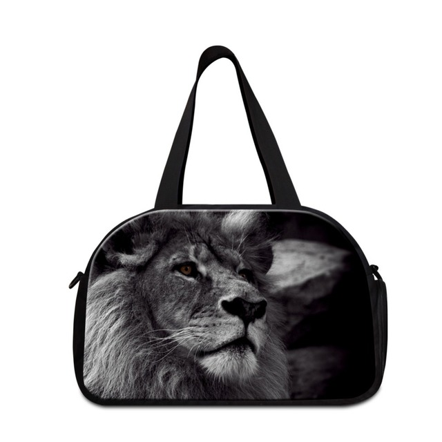 2018 Design Lion Printing Gymy Duffel Bags For Men Medium Sized Sporty Handbag With Shoe Pocket