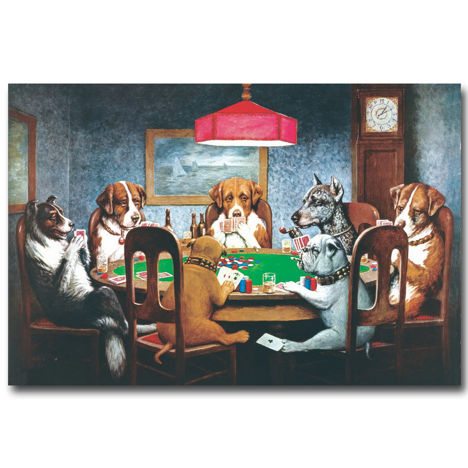 NICOLESHENTING Dogs Playing Poker Cards Art Silk Fabric Poster Print 13x20 20x30inch Funny Pictures Home Wall Decor