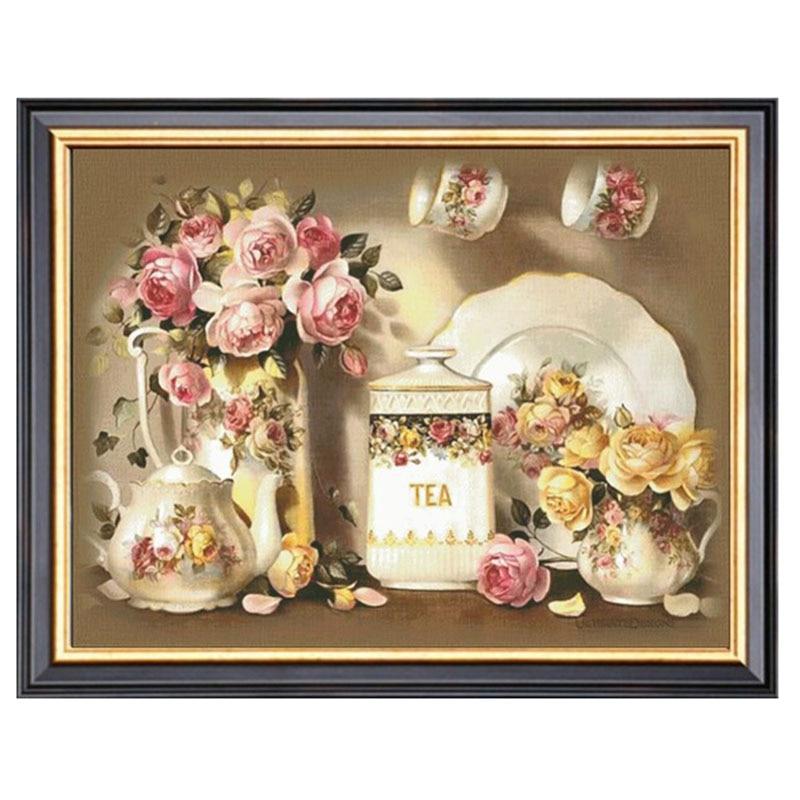 Broderie bricolage DMC 14CT non imprimé point de croix kits pour broderie théière roses compté croix couture murale brodée