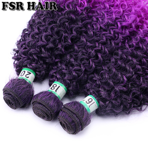 Image 3 - Black to Purple afro Kinky Curly hair weave synthetic hair extensions Ombre hair bundle