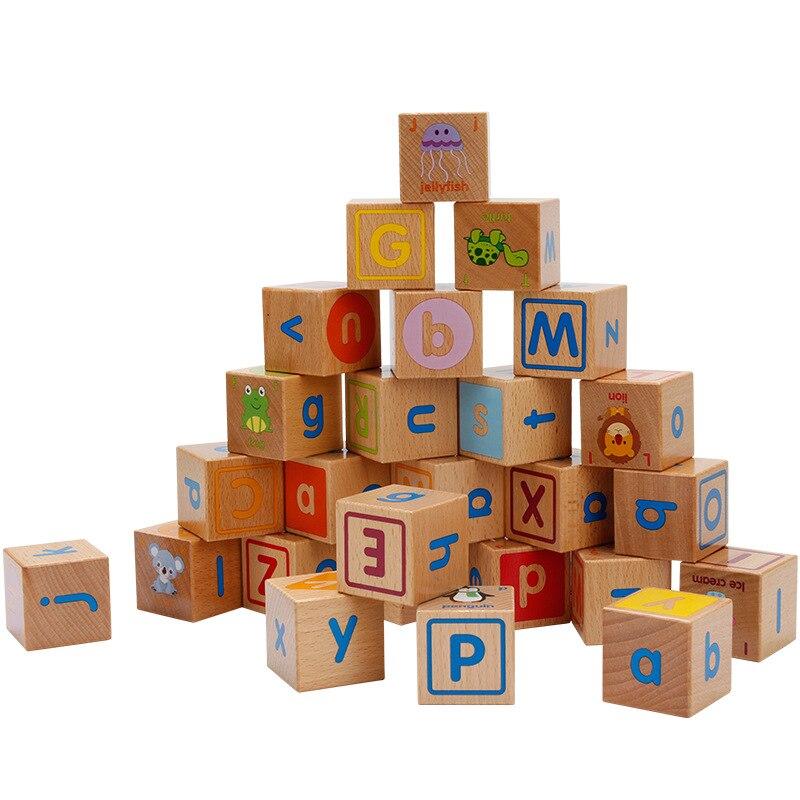 Baby Holz Spielzeug Cube Abbildung Blöcke Pädagogisches Frühes Lernen Spielzeug 26 Alphabet Tier Erkenntnis Bausteine Kid Weihnachten Geschenk