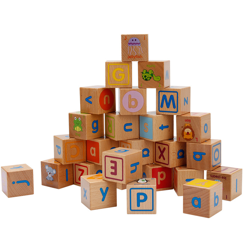 Baby Wooden Toys Cube Figure Blocks Educational Early Learning Toy 26 Alphabet Animal Cognition Building Blocks Kid Xmas Gift