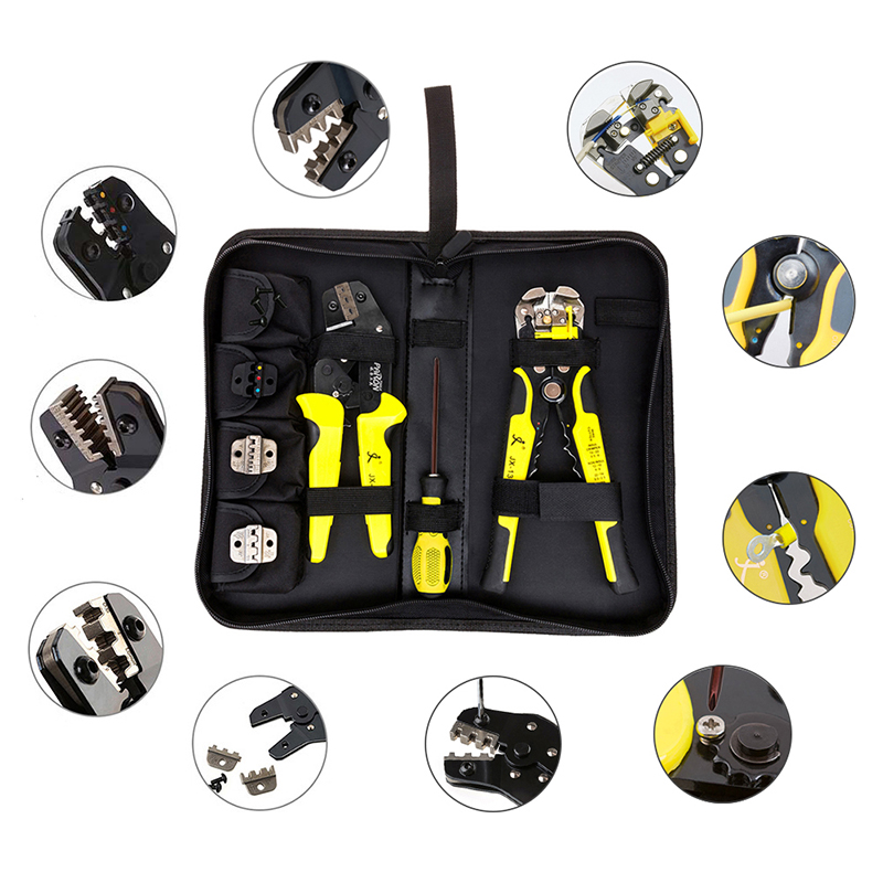 New JX-D4301 Multifunctional Ratchet Crimping Tool Wire Strippers Terminals Pliers Kit P10 xkai 14pcs 6 19mm ratchet spanner combination wrench a set of keys ratchet skate tool ratchet handle chrome vanadium