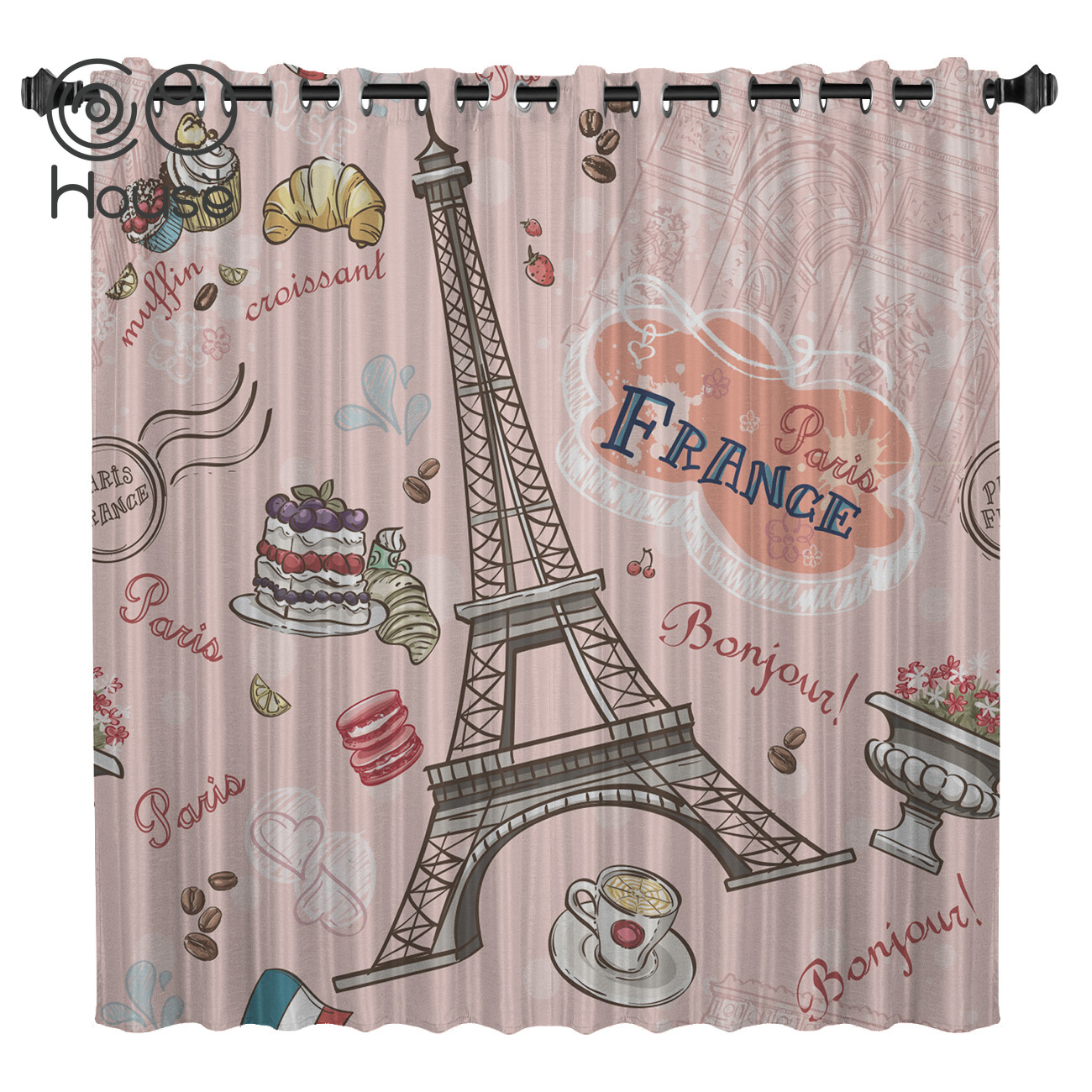 COCOHouse Pink Retro Eiffel Tower Window Curtains Dark Curtain Lights Curtains Bedroom Outdoor Decor Kids Curtain Panels With