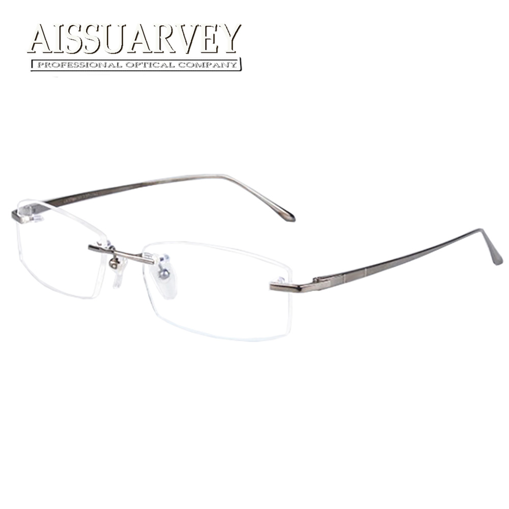 2cf8d6153e Sin montura de titanio hombres gafas marcos prescripción óptica gafas moda gafas  de marca negocios Ultra-ligero gafas clásicas