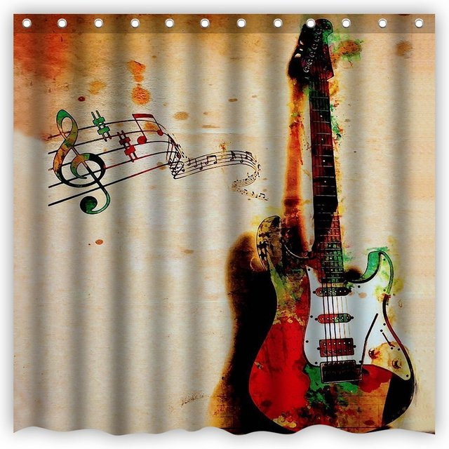 Shower Curtains Personality Vintage Guitar Shadow on The Wall Print ...