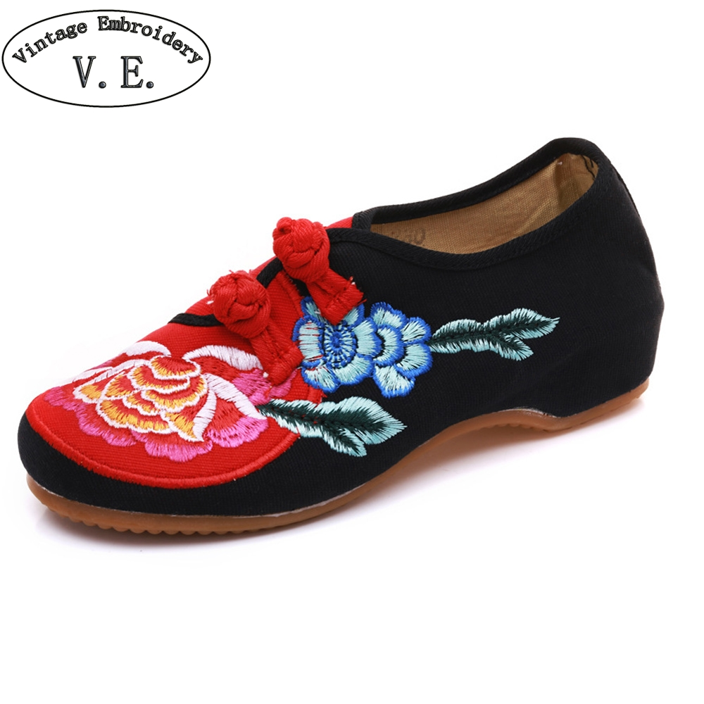 Vintage Embroidery Flat Shoes Women Penoy Embroidered Rubber Non Slip Canvas Shoes For Lady Travel Walking Causal Flats Zapatos