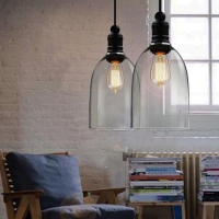 Vintage Industrial DIY Huge Size Ceiling Lamp Light Glass Pendant Lighting Lampshade
