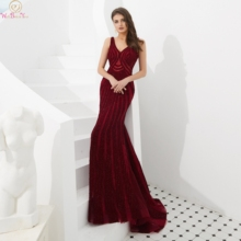 Burgundy V-neck Evening Dresses 2019 Real Pics Beading Sequined Sweep Train Mermaid Sexy Luxury Sleeveless Backless Prom Dresses msstor round toe wedges women sandals fashion thick bottom high heels casual women shoes 2018 summer metal buckle women sandals
