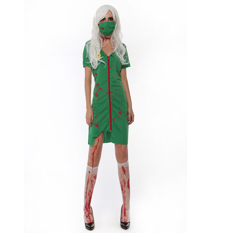 Sexy New Arrivals Adult Women Zombie Scrub Nurse uniforms Cosplay Fancy Dress Halloween Party Scary Costume Blood Costumes